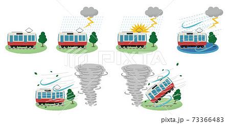 雷雨・竜巻の被害に遭う電車のベクターイラスト 73366483