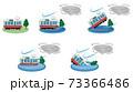 台風の被害に遭う電車のベクターイラストセット 73366486