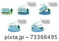 台風の被害に遭う電車のベクターイラストセット 73366495