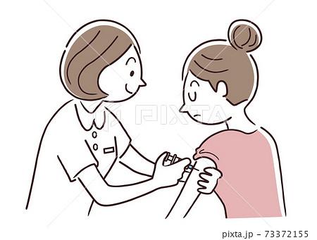 ベクターイラスト素材:注射を打ってもらう女性、ワクチン接種、予防注射 73372155