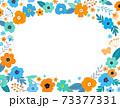 花の背景フレーム 手描きテイストの装飾 73377331