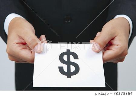 ドルマークのカードを差し出すビジネスマン 73378364
