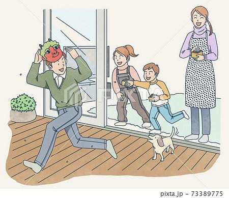 家族で豆まき 73389775