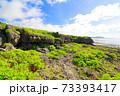 広大な岩場の陸地と美しい空と海 73393417