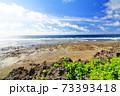 広大な岩場の陸地と美しい空と海 73393418