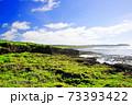 広大な岩場の陸地と美しい空と海 73393422