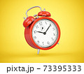 3D rendering red alarm clock isolated on yellow background 73395333