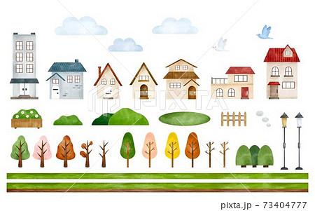 街並みのパーツのセット 水彩風イラスト 73404777