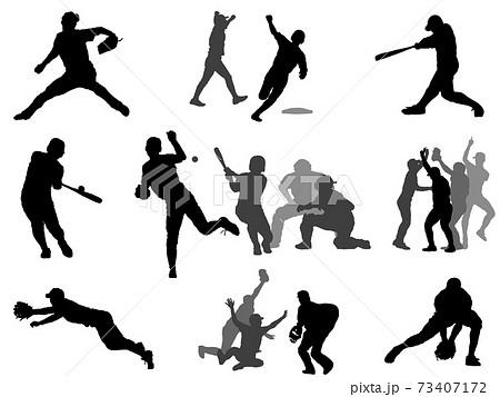 高校野球シルエット_セット 73407172