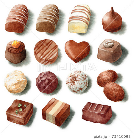 アナログ水彩いろいろな高級チョコレート 73410092