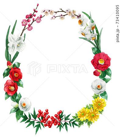アナログ水彩冬の花楕円フレーム 73410095