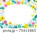 花の背景フレーム 手描きテイストの装飾 73413865