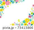 花の背景フレーム 手描きテイストの装飾 73413866