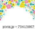 花の背景フレーム 手描きテイストの装飾 73413867