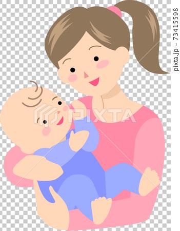 母親に抱っこされる笑顔の男の赤ちゃん 73415598