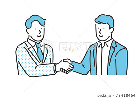 取引先と握手をするビジネスパーソンのイラスト素材 73418464