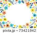 花の背景フレーム 手描きテイストの装飾 73421942