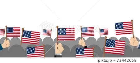 手持ち国旗 集団・群衆イラスト ( 愛国心・イベント・お祝い ・デモ) / アメリカ・USA 73442658