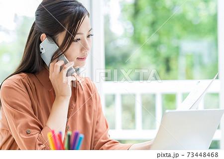 在宅でテレワークする若いビジネスウーマン 73448468