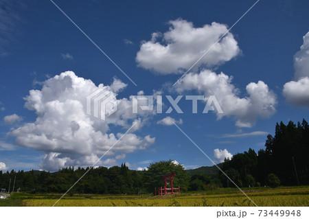 晴れた日ののどかな農村の昼下がり 73449948