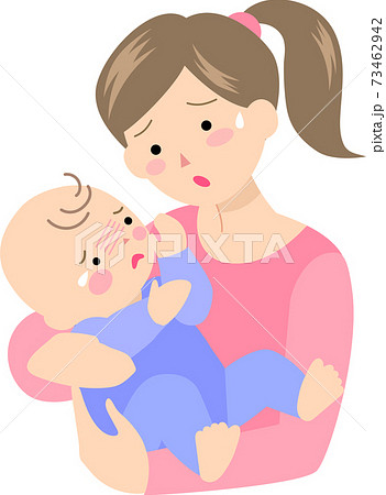 母親と泣き出しそうな赤ちゃん 73462942