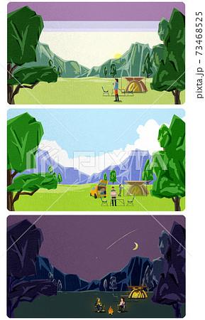 山と木のあるキャンプ風景「朝昼夜」 73468525