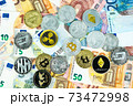 Various cryptocurrency coins on euro banknotes. Bitcoin, ethereum, litecoin 73472998