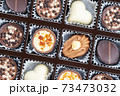 Different chocolate pralines. Box of belgian pralines of different shapes 73473032