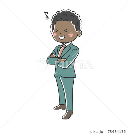 腕組みをする笑顔の黒人ビジネスマンのイラスト 73484136