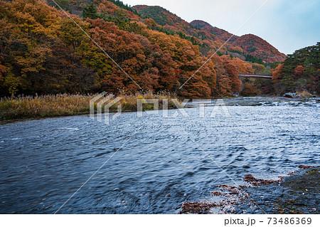 (群馬県)紅葉に包まれた、吹割の滝・上流部 73486369