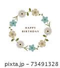 花のリース 水色 バースデーカード 73491328