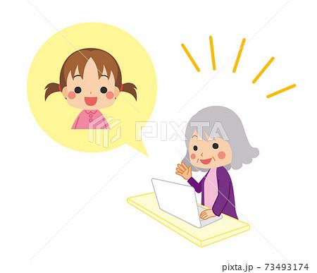 孫とビデオ通話をする可愛いおばあちゃんのイラスト ファミリー 73493174
