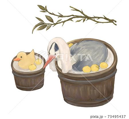 ゆず桶風呂に入るアオサギとアヒル 73495437