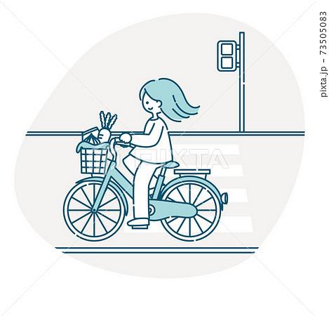 自転車に乗る女性 73505083