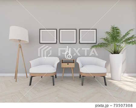 armchair in grey room with ficture frame and floor lamp 73507308