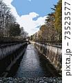 都内に流れる川の橋から見る風景(イラスト) 73523577