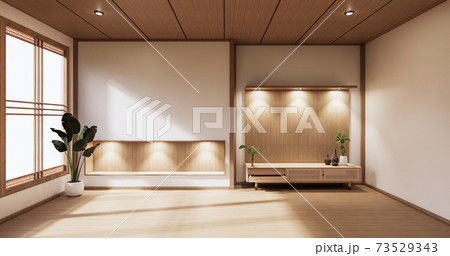 wooden cabinet in modern empty room and white wall on white floor room japanese style. 3d rendering 73529343