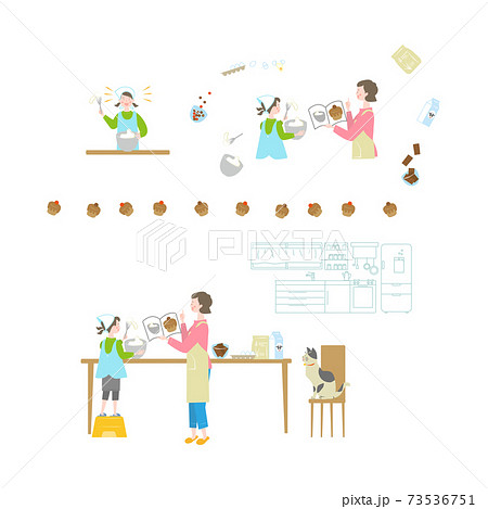 お菓子づくりをする女の子と女性セット 73536751