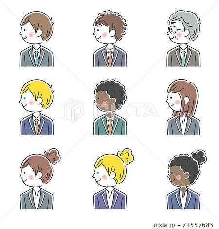 いろんな人種の笑顔のビジネスマンのイラストセット 73557685