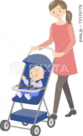 ベビーカーを押す母親と赤ちゃん 73559776