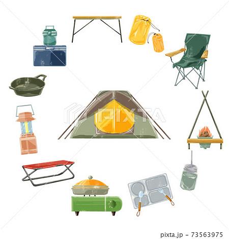 キャンプ道具手書き水彩風イラスト 73563975