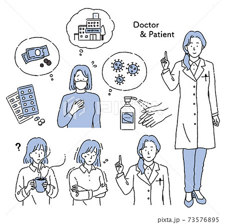 シンプルなタッチ 女性医師と患者のイラストセット 73576895