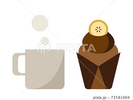 バナナチョコレートマフィンとマグカップ 73581069