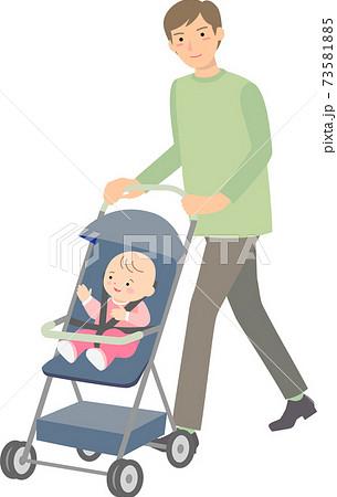 ベビーカーを押す父親と赤ちゃん 73581885
