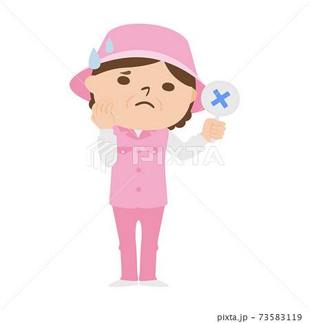 ゴルフ場で働く女性キャディのイラスト。女性はバツ印を出して困っている。 73583119