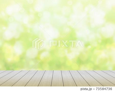 木の板とぼやけた緑の背景のイラスト no.01 73584736