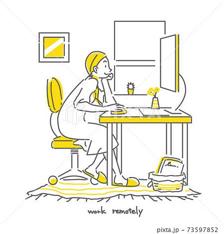 頬杖をつきながら自宅でテレワークする女性のおしゃれでシンプルな線画イラスト 73597852