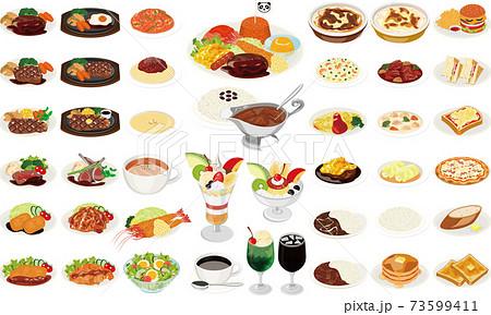洋食屋の人気料理イラスト①(お子様ランチ、オムライス、カレーライス、ナポリタン、パフェ) 73599411