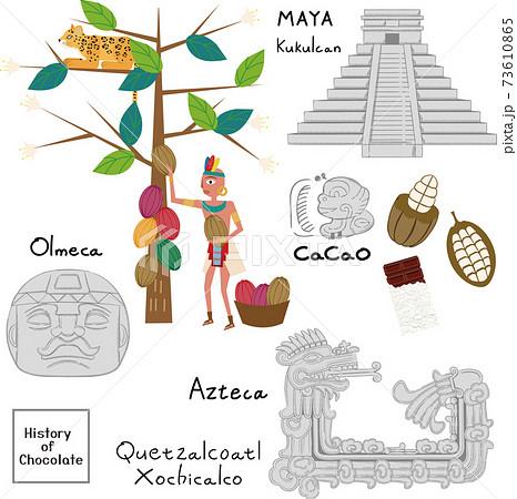 メソアメリカとカカオの歴史のイラスト 73610865