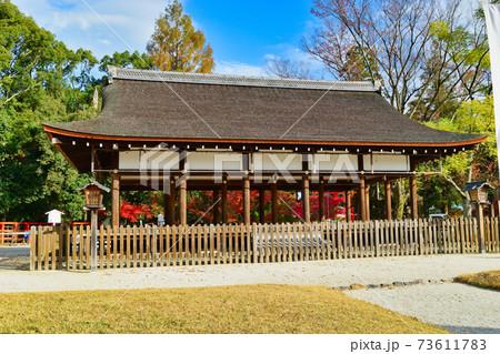 紅葉が美しい京都 上賀茂神社の外幣殿(馬場殿) 73611783